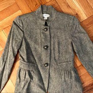 Ann Taylor Loft Black Tweed Fitted Ruffle Blazer
